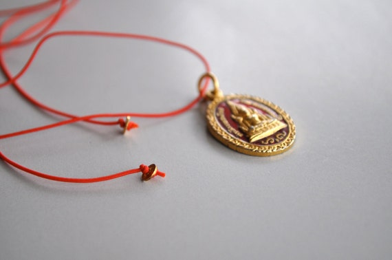 Antique Buddha Amulet Red String Necklace