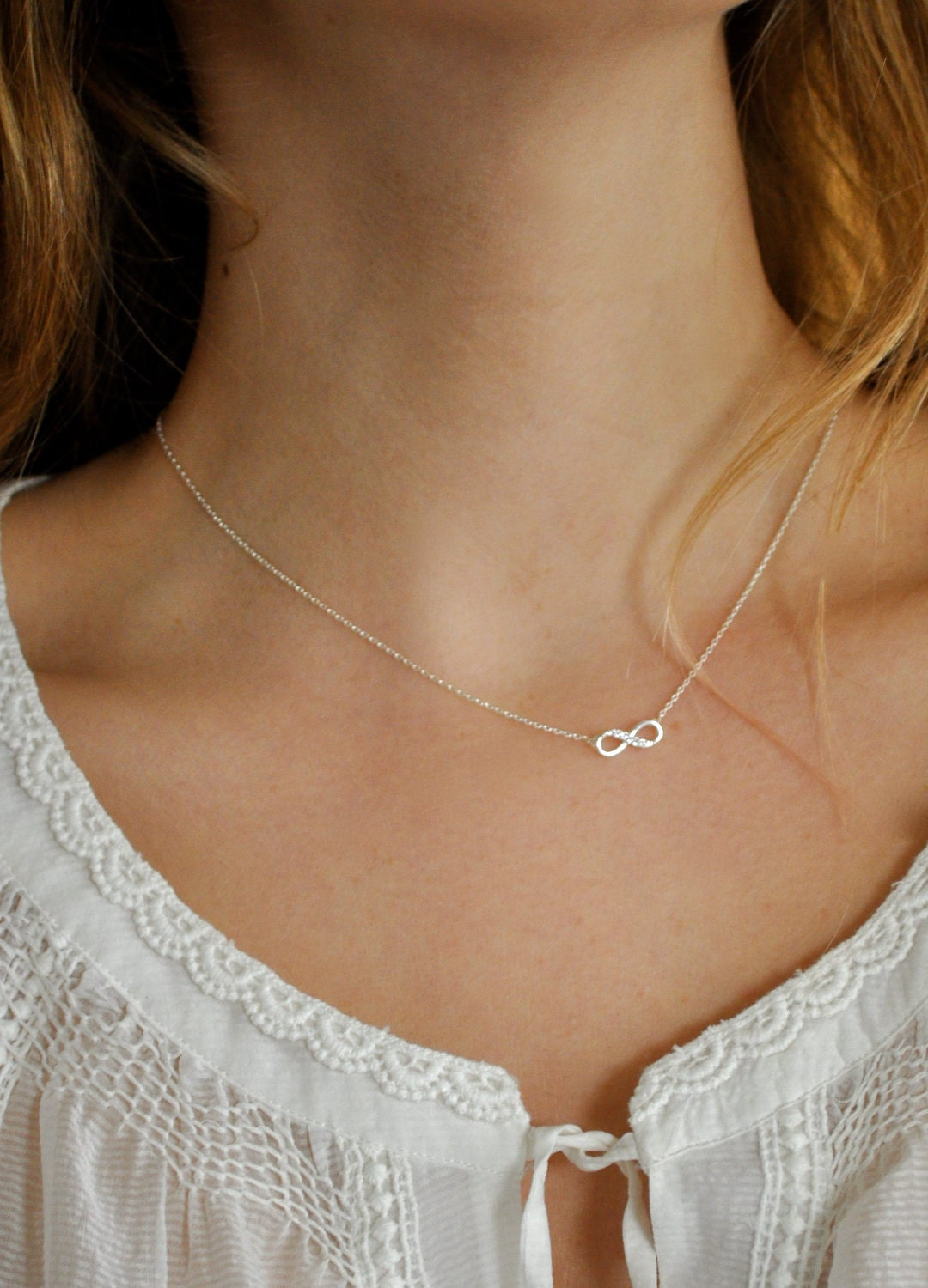 Tiny Diamond Infinity Bow Necklace