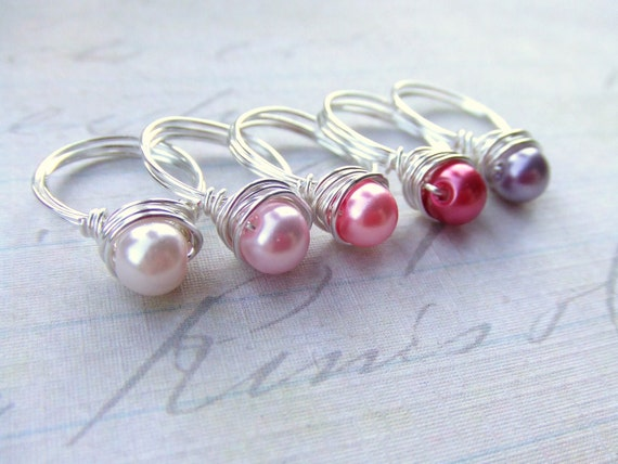 Girls Pearl Rings Kids Wire Wrap Rings Toddler Rings Children's Jewelry Girl's Jewelry Pearl Rings Gifts Under 5 Party Favors