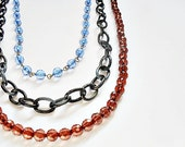 Cobalt/Brown Long Chain Necklace