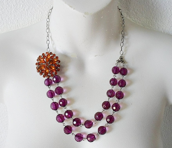 The Florence Plum Beaded Necklace