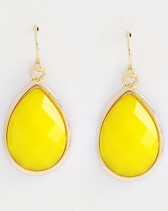 Bright Yellow Dangle Earrings