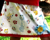 girls size m/l summer skirt with Alexander Henry Kitties and ribbon detail