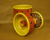 ON SALE KILLER pair of MidCentury Modern Italian Carved Pottery Candleholders in Yellow and Rusty Burnt Orange probably Bitossi