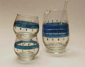 GREAT midCentury modern 1960s Mad Men Style Roly Poly Martini Set with Aquamarine Stripes and Gold Diamonds