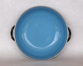 midCentury modern Enamel Handled Plate or Bowl BLUE and BLACK Cathrineholm Finel Style