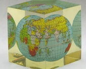 Vintage 1960's World Globe Lucite Paperweight Small Cube