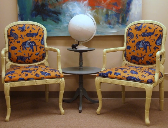Pair of Vintage REFURBISHED Off White Painted Occasional Chairs with Lee Jofa JAVA JUNGLE new Upholstery in Orange Turquoise and Blue