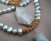 Unusual Rough-Cut Aquamarine and Baby Blue Pearls 2-Strand Necklace