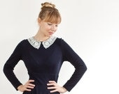 Navy Blue Knee Length Shift Dress With White Lace Collar and Long Sleeves