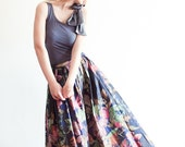 Floral Print Pleated Cotton Maxi Skirt - Perfect Fit Guaranteed