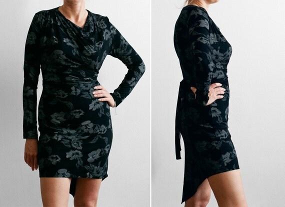 SAMPLE SALE - Asymmetric Cotton  Printed Jersey Dress. Ready to Ship - Size 8