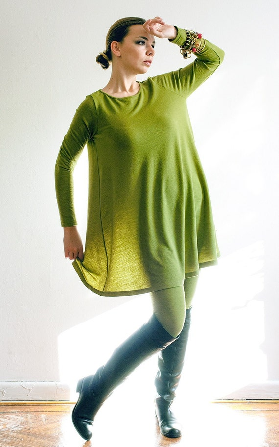 Olive Green Fine Virgin Wool Jersey Dress - Made To Order