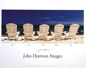 Five  Adirondack Chairs on the Beach A Fine Art Poster