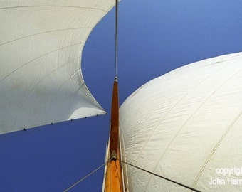 Sailors Wings the Headsail and Mainsail of a Classic Boat Against a Blue Sky Fine Art Photo