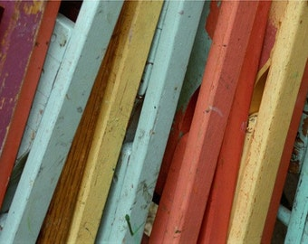 Pastel Folding Chairs Leaning Against a Porch Fine Art Photograph