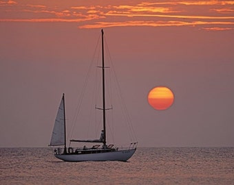 Clasic Wooden Sailboat - Great Sunset.  Wooden Boat Fine Art Photo
