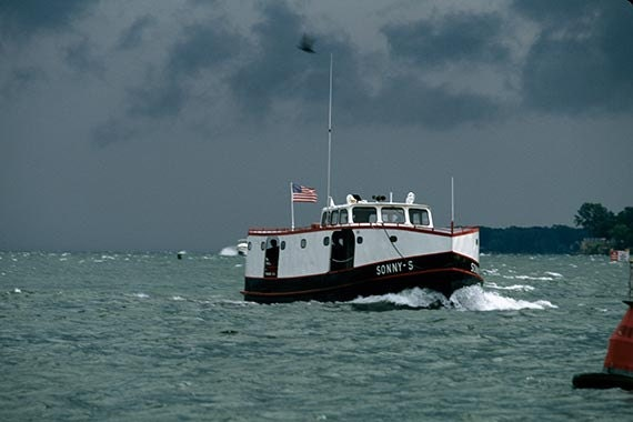The Ferry Sonny S Approaches Put in Bay Harbor in Rough Weather on Lake Erie