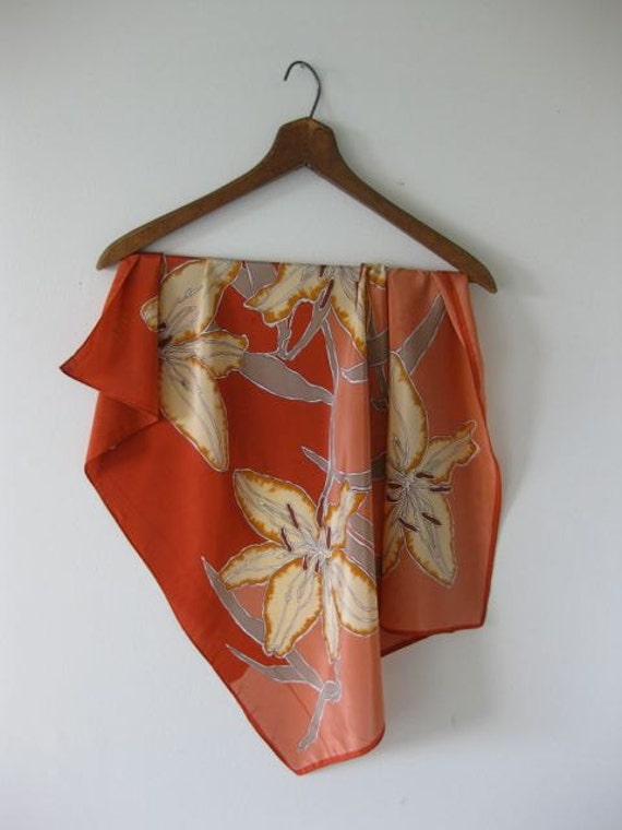 40% Off SALE Peach and Copper Lilies Vera Scarf - was 15/now 9