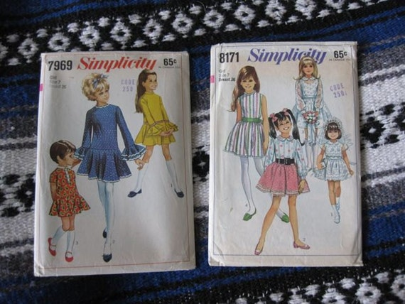 A Pair of Simplicity Girls Party Dress Patterns 7969 and 8171