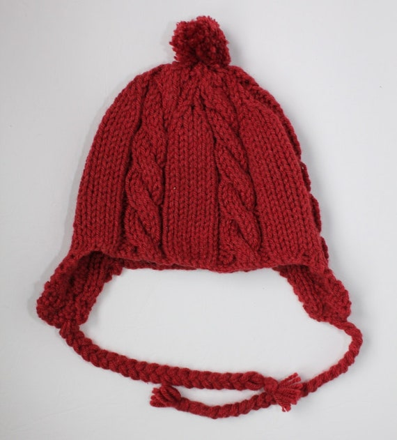Ear Flaps Hats Knitted Hats Toddler Hats Red Cable Chic