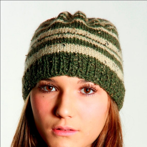 Hats- Knitted Hats- Adult Hats - Twilight- Style Green Striped Toque - Tent Scene in Eclipse - Brome Fair Winner