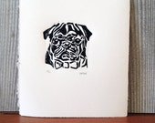 Bow Tie Pug / Original Hand-pulled Linocut Print