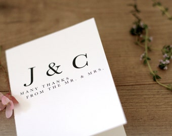 Printable / Playful Typography Wedding Thank You Notecard  / (DIY)