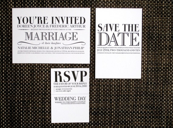 Printable Wedding Invitations Kits: The Vintage Modern Printable Wedding Invitation