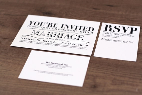 Printable Wedding Invitations Kits: Printable / Vintage Modern Essentials Wedding Invitation Kit