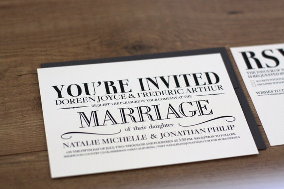 Printable / Vintage Modern Wedding Invitation Card (DIY)