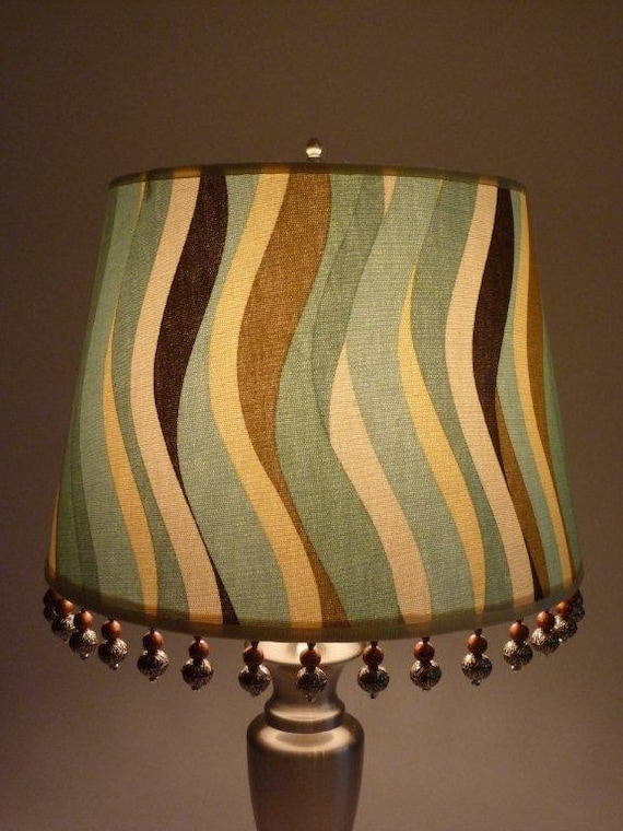 """9""""x12""""x8.5"""" Blue & Brown Waves Lampshade w/ Copper and Silver Beaded Trim"""