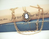 Triple Chain Cameo Necklace