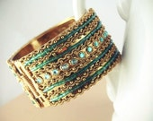 Gold and Blues Beaded Cuff Bracelet