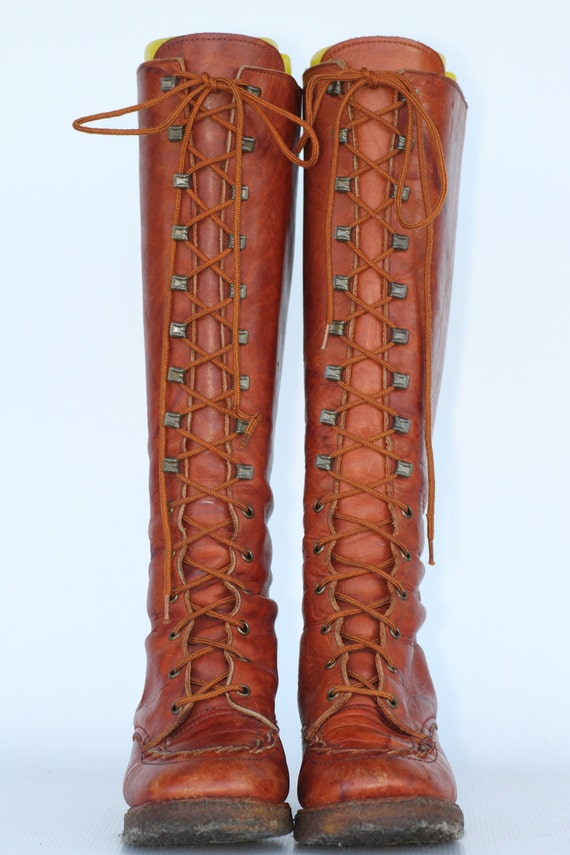 Vintage Zodiac Tall Lace Up Leather Campus Riding Boots With