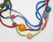 Bubblegum Graduated Wool Beaded Necklace