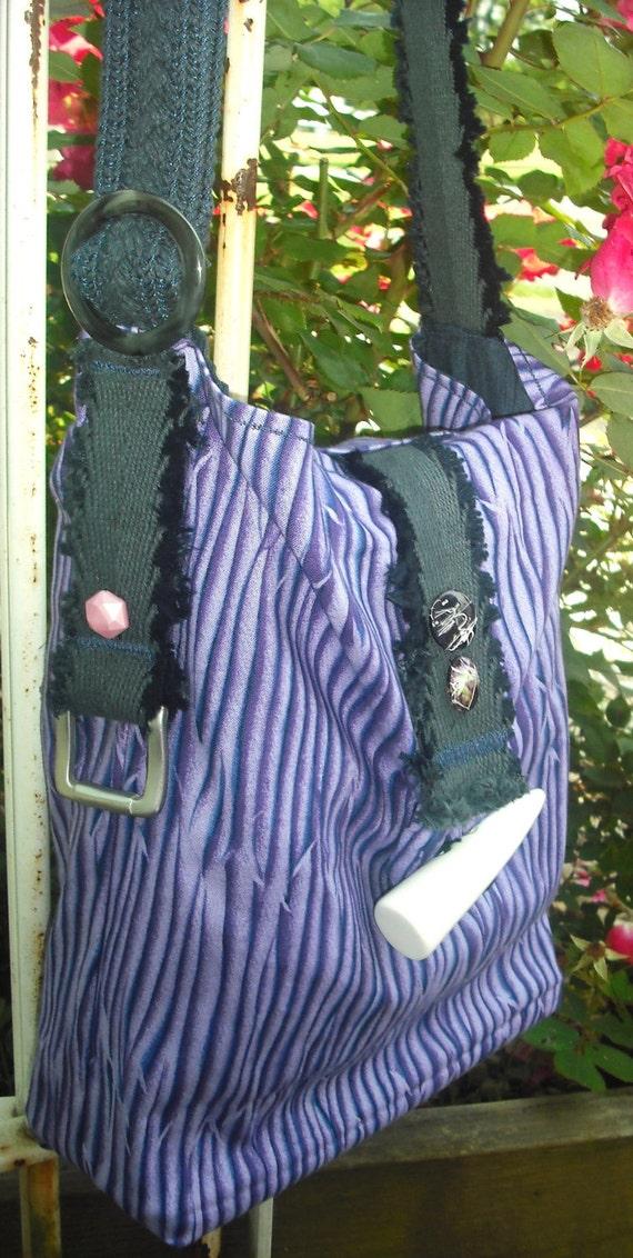 SALE-Josie's-Purple Zebra-Cross Body-Messenger/Sling-Upcycled- Shoulder Bag w/ Plastic Bone Button