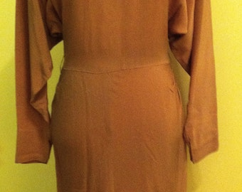 REDUCED: 1930s Mocha Brown Crepe Evening Dress with Beaded Bodice - Size Sm/Med