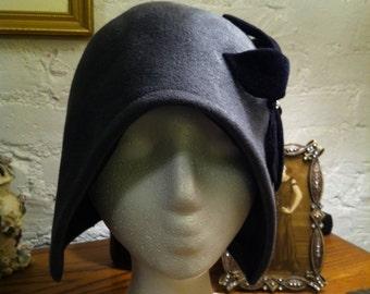 Vintage Inspired Gray Felt Cloche
