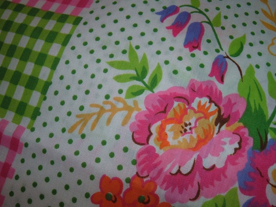 Price reduction  on vintage gingham  and floral design cotton fabric