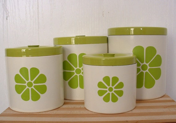kitchen canister set with lids lime green design on white vintage