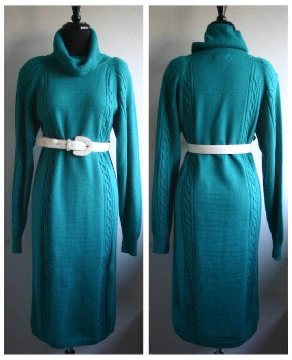 1980's Green Sweater Dress