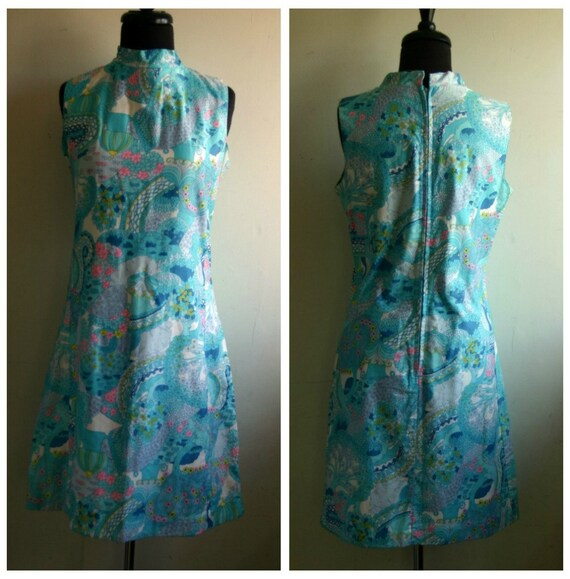 1960's Floral Janet Lynn Shift Cocktail Dress