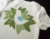 Birds in the Trees Sing a Happy Song (Earthy Greens with Blue Detail on White Onesie) --  12-18M Baby Bodysuit