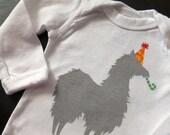 Party Llama Baby Shirt (Gray with Yellow Polkadots on Orange Party Hat) -Newborn Lap Tee long sleeve