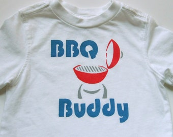 BBQ Buddy (Red and Blue on White) -- 18M Toddler Tee
