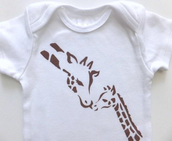Giraffe Kisses (Chocolate on White Onesie) --6M Baby Bodysuit