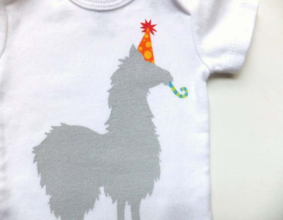 Party Llama Onesie (Gray with Yellow Polkadots on Orange Party Hat) - Newborn Baby Bodysuit