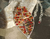 Small Beaded Leaf Necklace in Red and Brown
