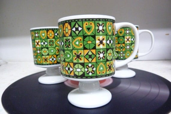 Vintage Retro Geometric Footed Coffee Mugs Made In Japan